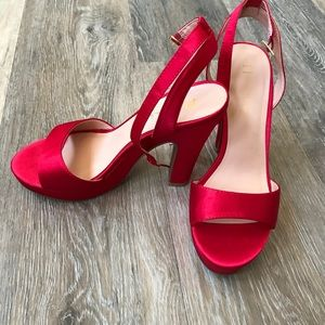 Nicole Miller Satin Red Heels